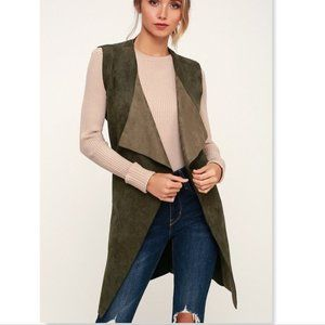 Lulu's Vest with the Best Olive Green Suede Medium